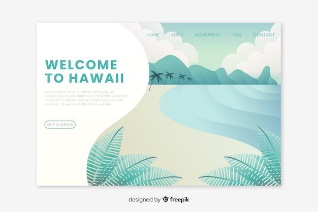 Bienvenue sur la page de destination d'hawaï Vecteur gratuit