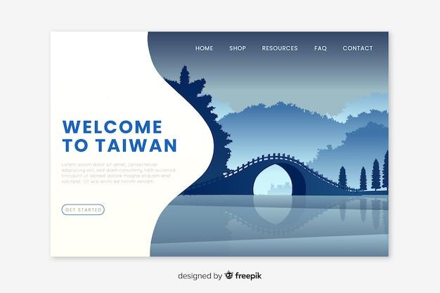 Bienvenue sur la page de destination de taiwan Vecteur gratuit