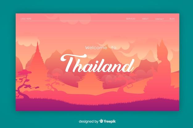Bienvenue sur la page de destination de la thaïlande Vecteur gratuit