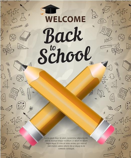 Bienvenue, retour à l'école lettrage avec silhouette cap de graduation Vecteur gratuit