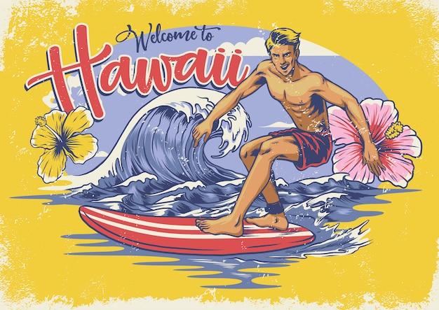 Bienvenue surf hawaïen Vecteur Premium