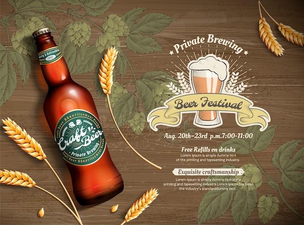 Bière Artisanale Et Blé En Illustration 3d Sur Fond De Fleur De Houblon Gravé, Vue De Dessus De Table En Bois Vecteur Premium