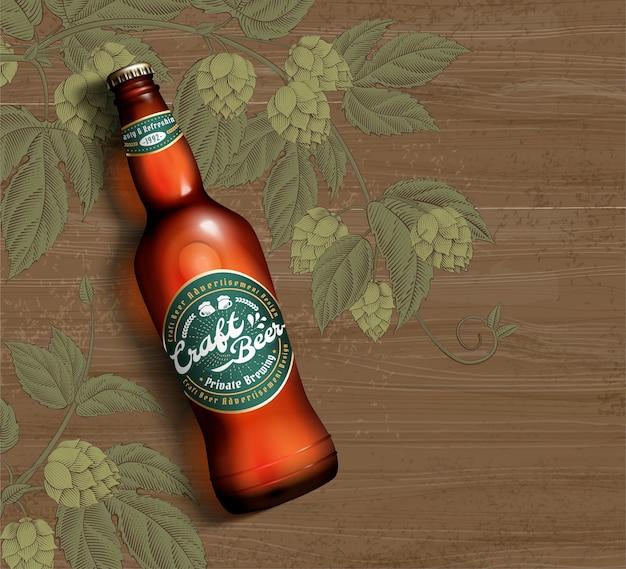 Bière Artisanale En Illustration 3d Sur Fond De Table En Bois Et Fleur De Houblon Gravé Vecteur Premium