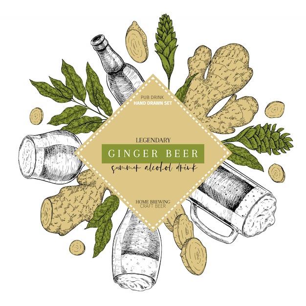 Bière au gingembre dessinés à la main saint patrick poster pub. Vecteur Premium