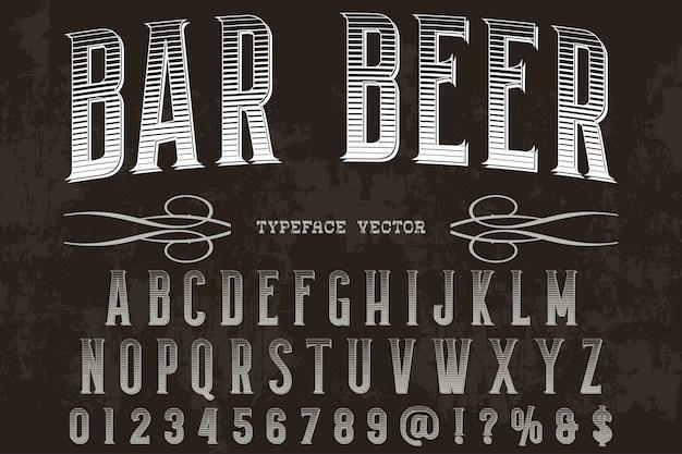 Bière de bar design étiquette rétro typographie Vecteur Premium