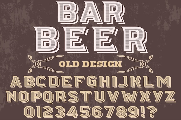 Bière De Bar Design Typographie Polices Rétro Vecteur Premium