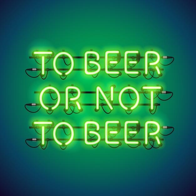 À la bière ou à la bière au néon Vecteur Premium