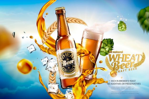 Bière De Blé Artisanale Avec Du Liquide éclaboussant Et Des Ingrédients Sur Le Ciel Bleu Bokeh Vecteur Premium