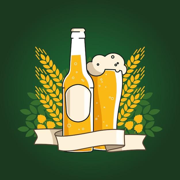 Bière de blé. bouteille de bière et verre avec bière et ruban. épis de blé et de houblon Vecteur Premium