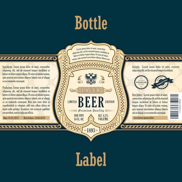 Bière Bouteille Autocollant Or Vecteur Premium