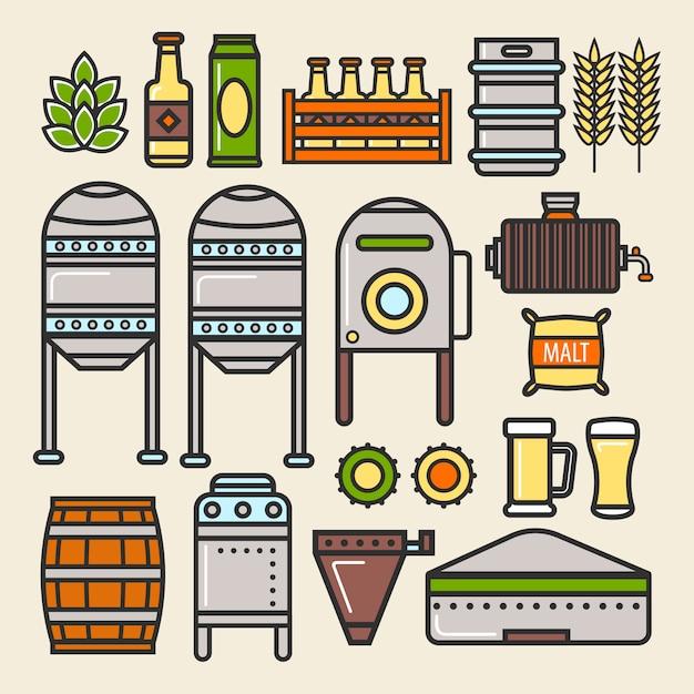 Bière brasserie usine production ligne éléments vectoriels icônes Vecteur Premium