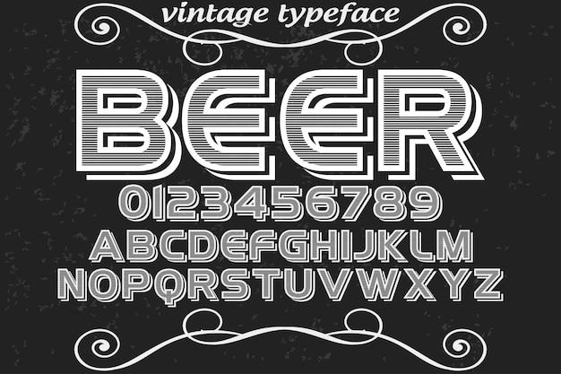 Bière Design étiquette Alphabet Vintage Vecteur Premium