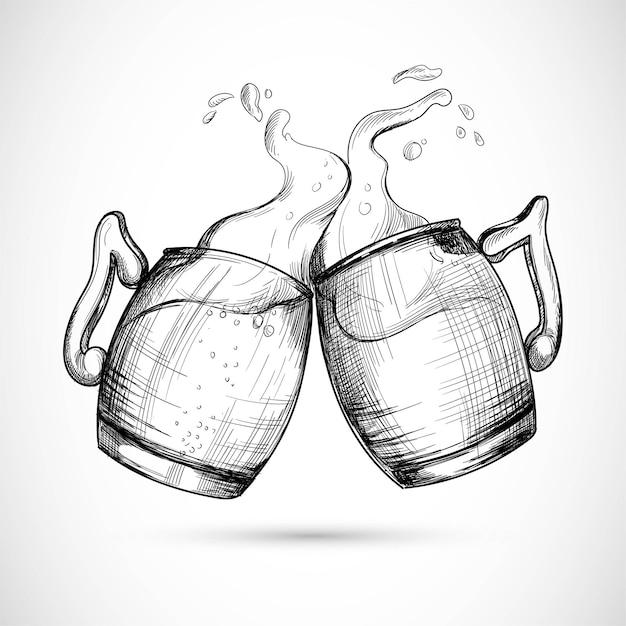 Bière Dessinée à La Main Dans La Conception De Croquis De Tasse En Verre Vecteur gratuit
