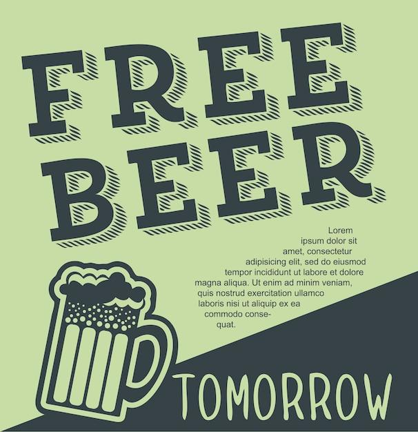 Bière gratuite demain illustration illustration vectorielle style vintage Vecteur Premium