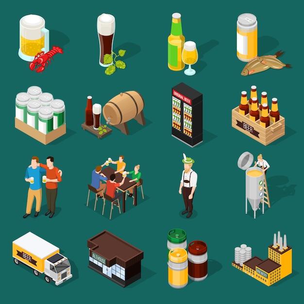 Bière isométrique icons set Vecteur gratuit