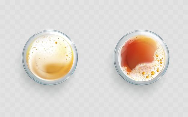 Bière légère et sombre dans des verres vecteur réaliste Vecteur gratuit