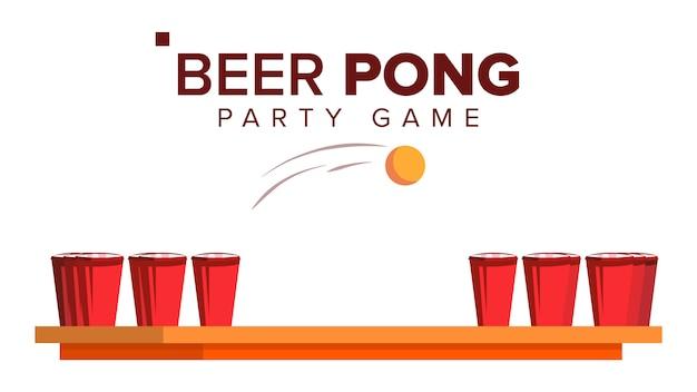 Bière pong jeu Vecteur Premium