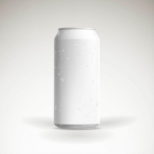 Bière de vecteur photoréaliste peut maquette avec des gouttes d'eau Vecteur Premium
