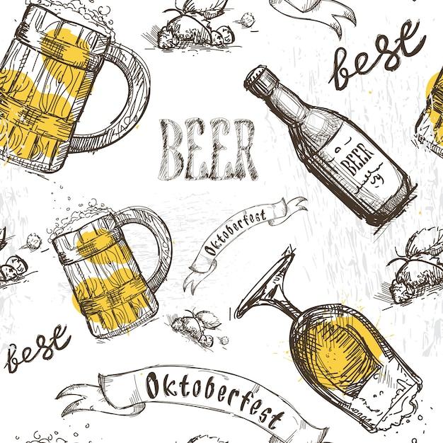 Bière en verre motif sans couture festival oktoberfest Vecteur Premium