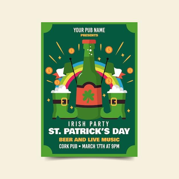 Bières Et Bottes De Chance St. Circulaire De La Patrick Vecteur gratuit