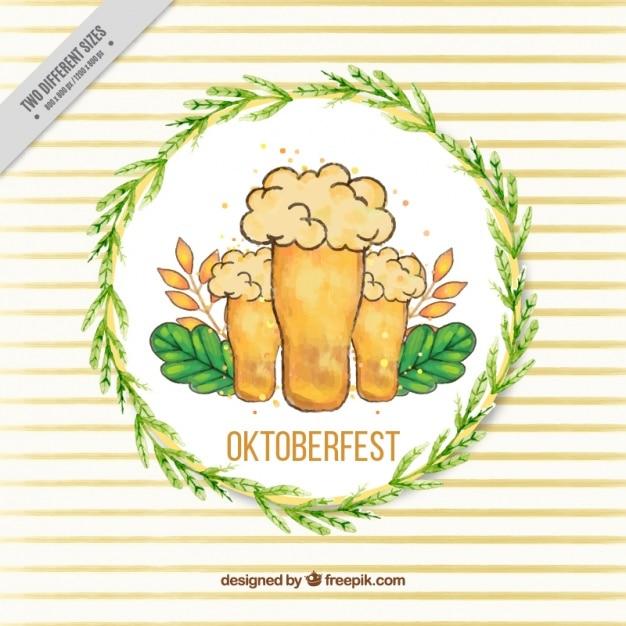 Bières Dessinés à La Main Avec Cercle Ornemental De Feuilles Vecteur gratuit
