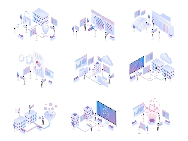 Big data isometric set Vecteur Premium