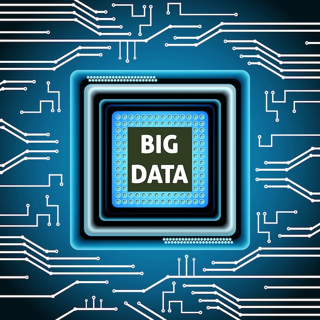 Big data microchip computer electronics cpu fond illustration vectorielle Vecteur gratuit