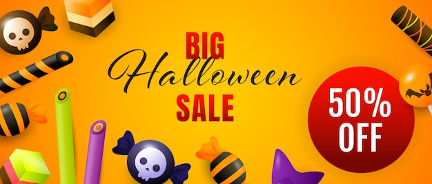 Big halloween sale lettrage avec des bonbons et des bonbons Vecteur gratuit