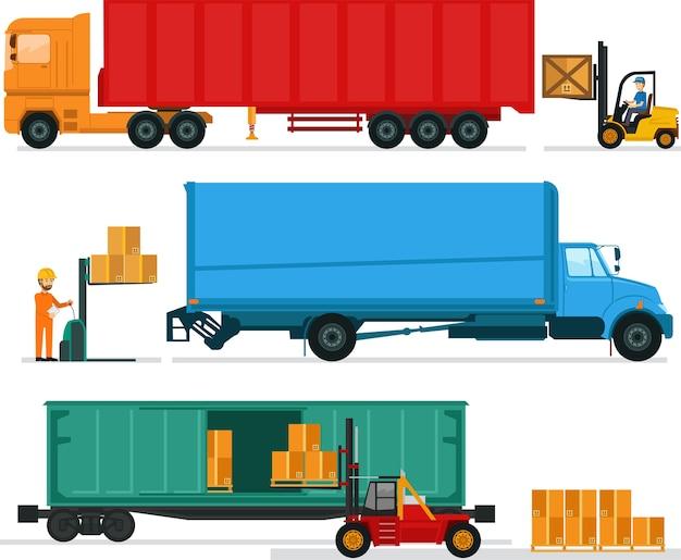 Big lorries charge des objets à l'entrepôt Vecteur Premium
