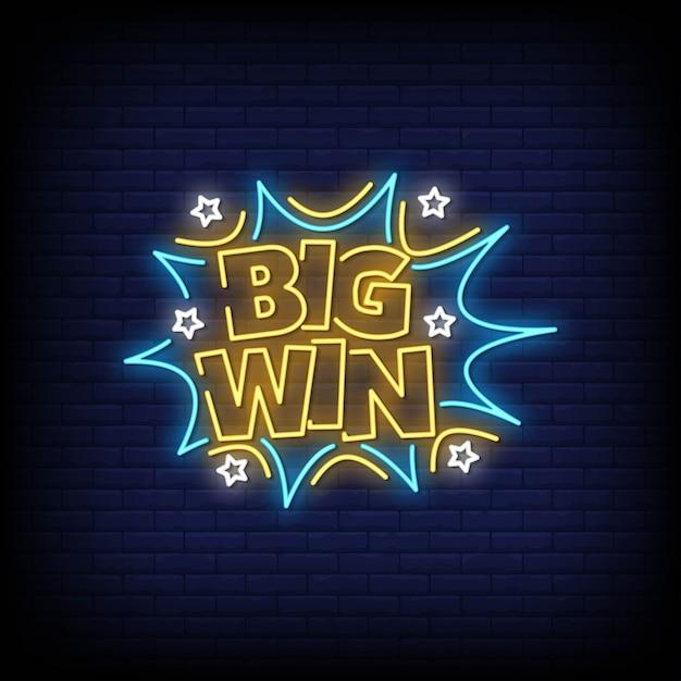 Big win néon style texte Vecteur Premium