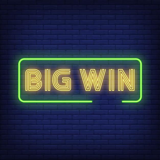 Big win texte néon dans le cadre Vecteur gratuit
