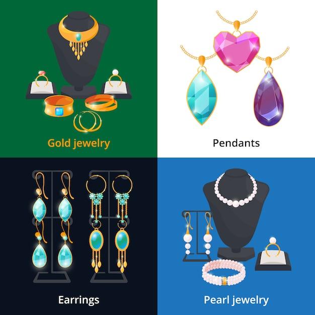 Bijouterie avec différents accessoires de luxe. bracelet saphir, diamant et or Vecteur Premium