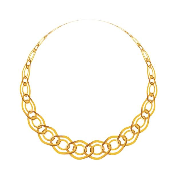Bijoux de chaîne en or isolé Vecteur Premium