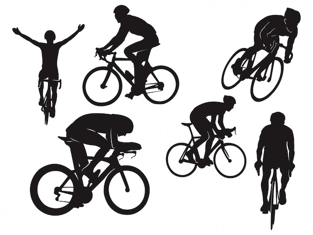 Biker Ride Cyclisme Vélo De Route Celebration Black Silhouette Vecteur Premium