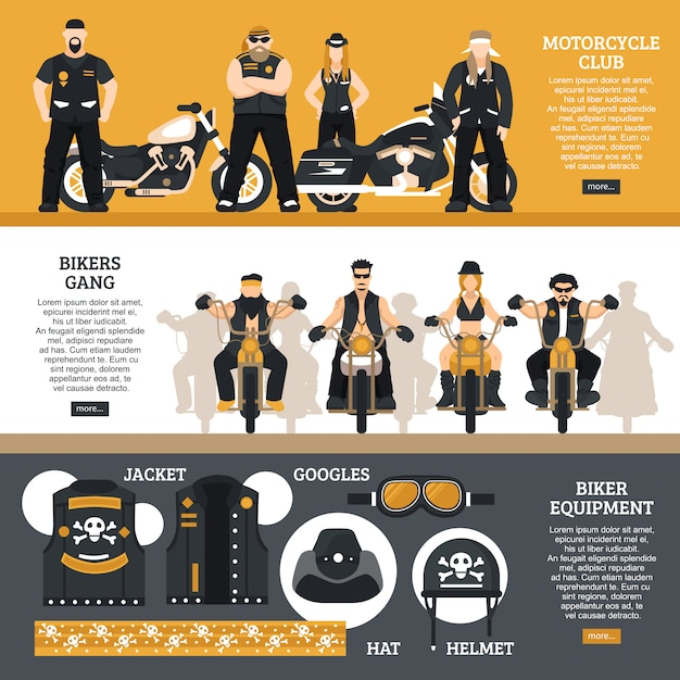 Bikers banners set Vecteur gratuit