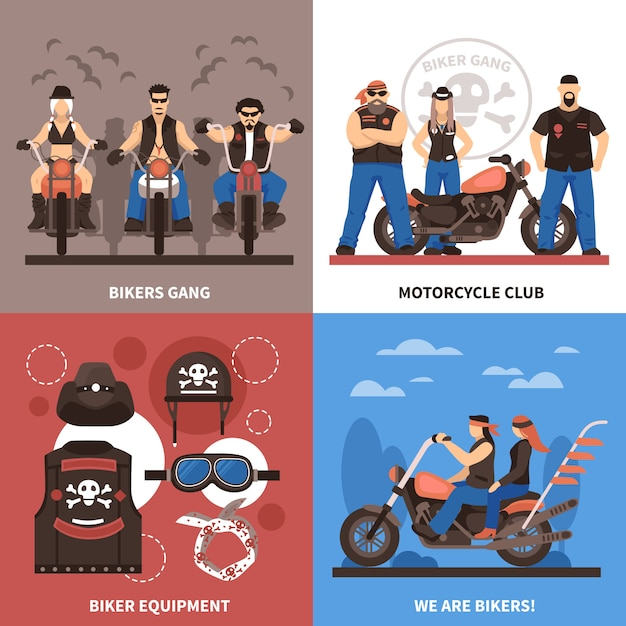 Bikers concept icons set Vecteur gratuit