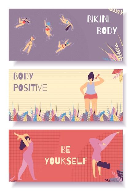 Bikini body positive flat banner set design floral Vecteur Premium