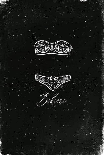 Bikini mode sous-vêtements au style vintage, dessin à la craie sur un tableau noir Vecteur Premium