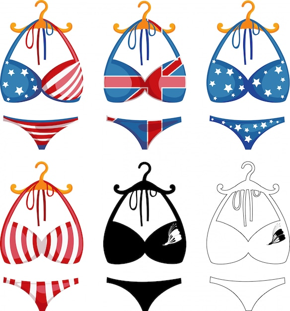 Bikini set illustration Vecteur Premium