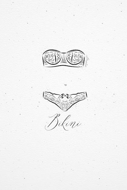 Bikini de sous-vêtements dessinant un style vintage sur fond de papier aquarelle Vecteur Premium