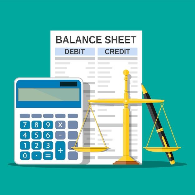 Bilan Avec Calculatrice, échelles Et Stylo. Vecteur Premium