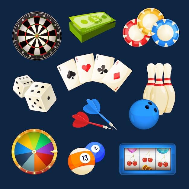 Dés, billard, jeux de casino, cartes et autres divertissements populaires. Vecteur Premium