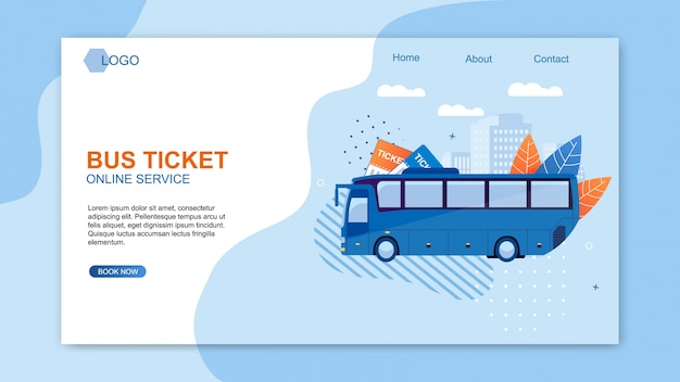 Billet D'autobus Service En Ligne Web Design Flat Cartoon. Vecteur Premium