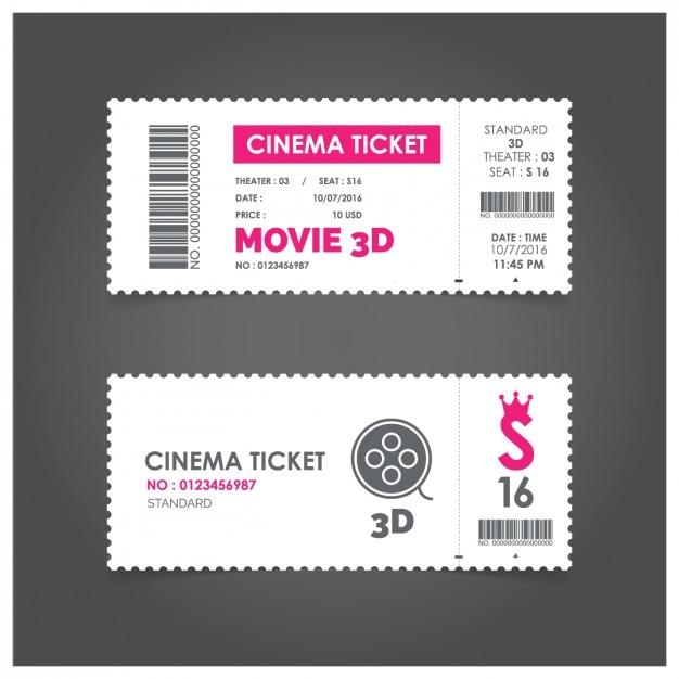 Billet de cinéma avec détails roses Vecteur gratuit