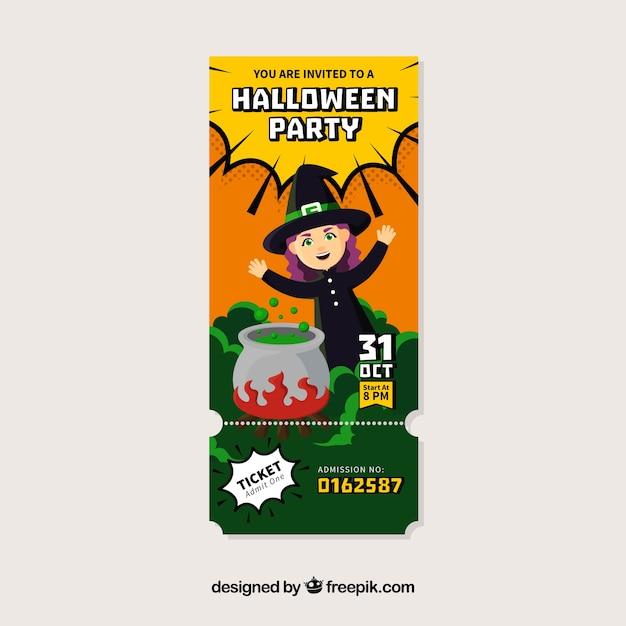 Billet De Fête De Halloween Avec Sorcière Et Chaudron Télécharger