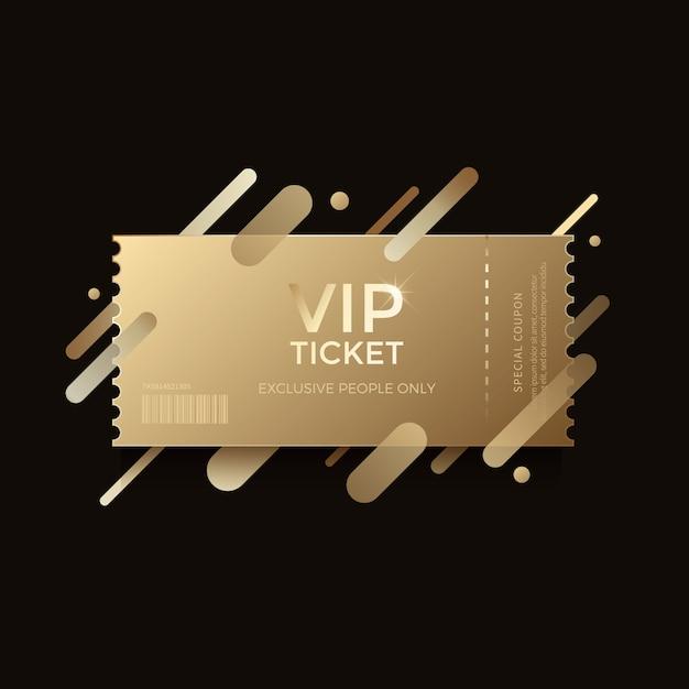 Billet d'or de luxe vip Vecteur Premium