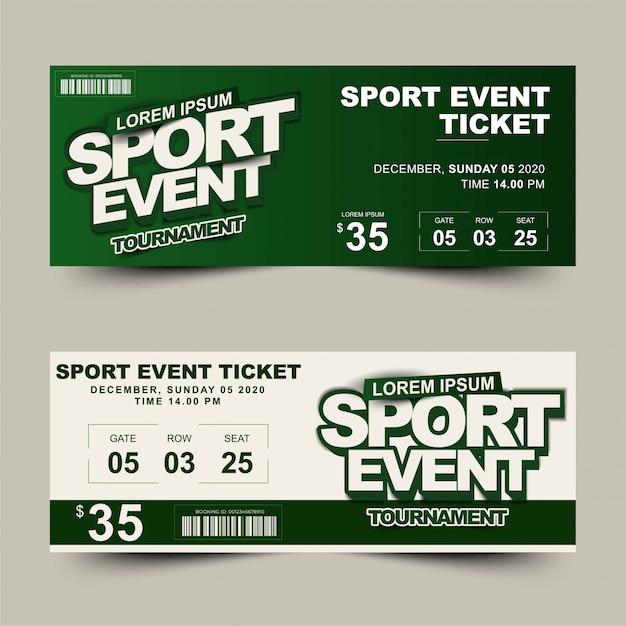 Billet de tournoi pour deux options sportives Vecteur Premium
