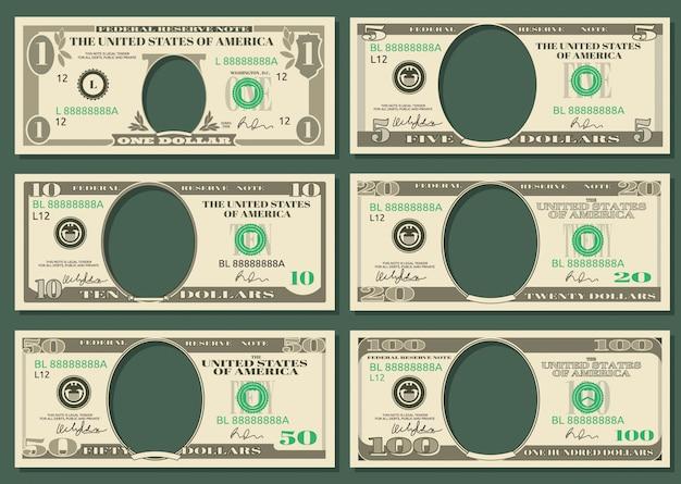Billets de banque en dollars vectoriels Vecteur Premium