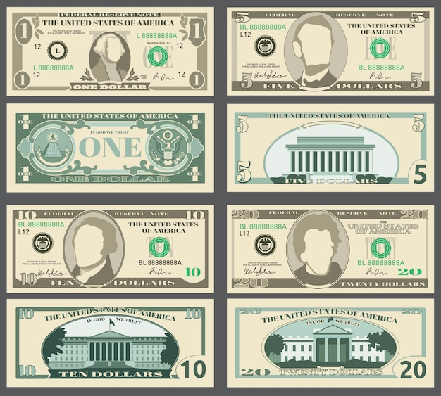 Billets de banque en dollars Vecteur Premium