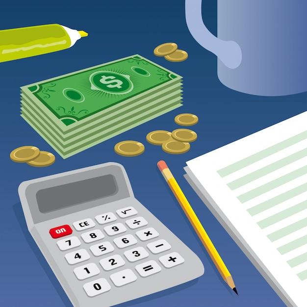 Billets de banque, pièces de monnaie et calculatrice Vecteur Premium